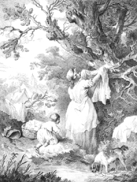 woman spreads washing over tree and hedge