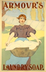 Woman with basket of white laundry