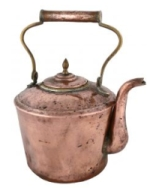 copper kettle with slightly dented and aged look