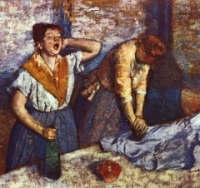 Two laundresses, one pressing iron onto cloth
