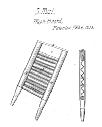 Sketch of washboard with turned legs