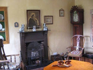 cottage fireplace, furnishings