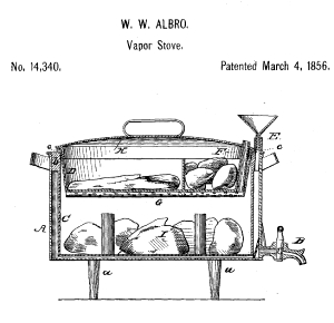 Drawing of stove with compartments for cooking a meal