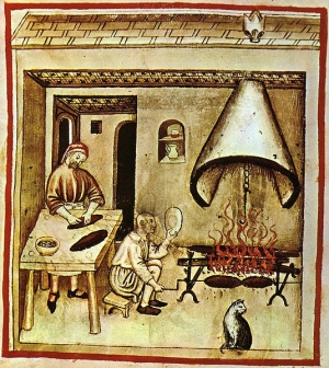 Spit-roasting under conical 'fireplace' canopy