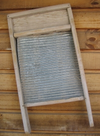 Corrugated metal in wooden frame