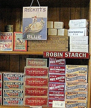 Packages and ads on shelves